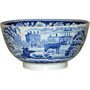 Antique Dark Blue and White Transferware Bowl w Cows & Other Scenes