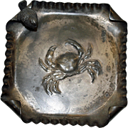 Antique Pairpoint Tray with Crab and Figural Bird