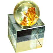 Glass Paperweight with Underwater Scene and Glass Cube Holder
