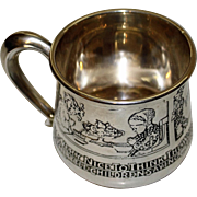 "Antique Sterling Kerr Child's Cup with ""Pictures"" - Saying Grace at Meals"