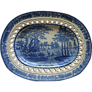 Antique Reticulated Blue & White Staffordshire Small Oval Platter by Davenport