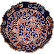 c.1806-1825 Royal Crown Derby Fluted Bowl, Imari Colors, 9 Inch Diameter