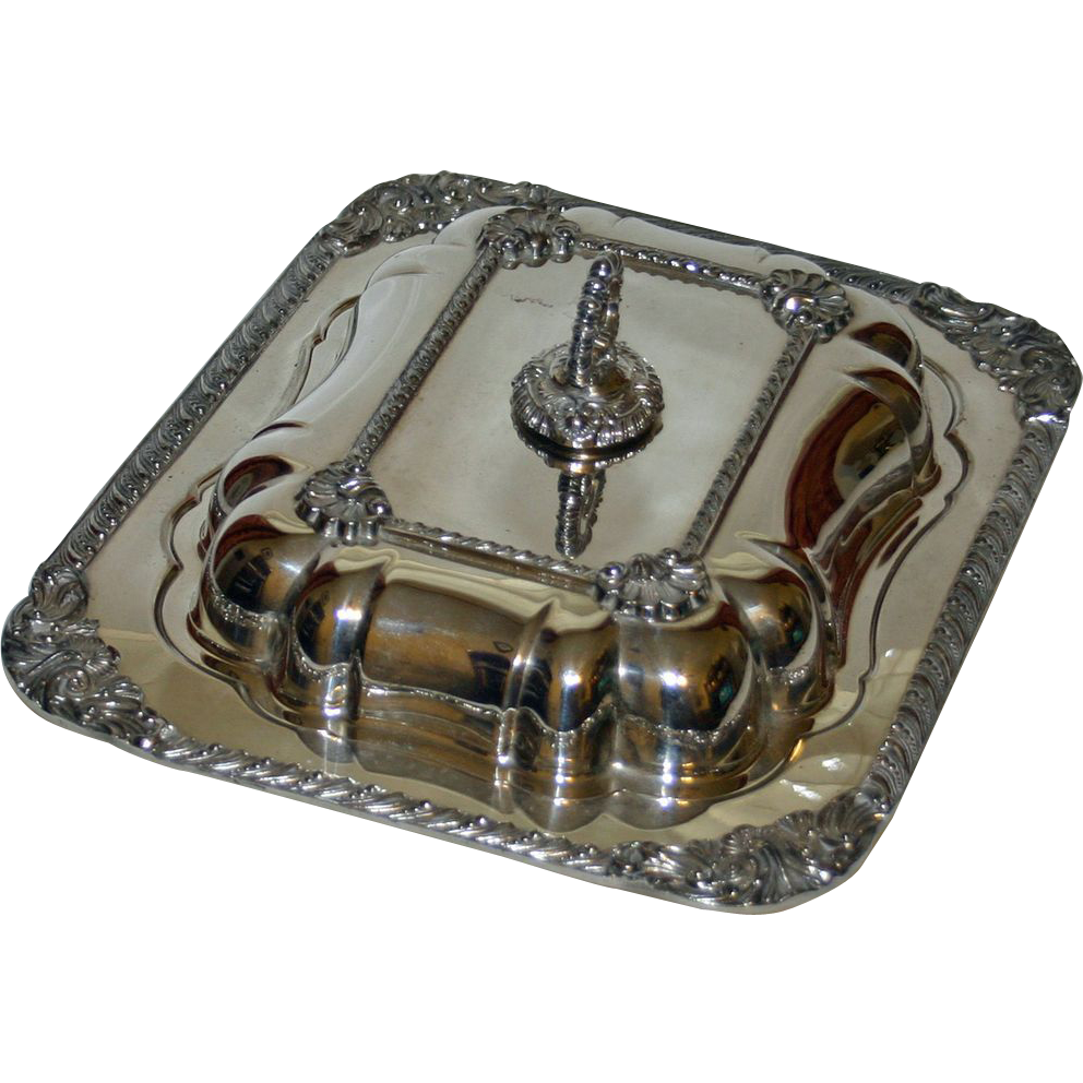 Antique Silver on Copper Massive American Divided Serving Dish, Fully Marked