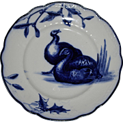 Antique Royal Doulton Flow Blue Plate, Two Turkeys and Holly Leaves c. 1900