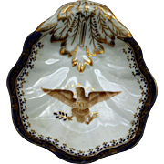 Patriotic Dish with American Eagle and Cobalt Border