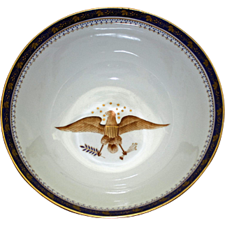 Large Handsome  Centerpiece Bowl with American Eagles, 11.75 Inches
