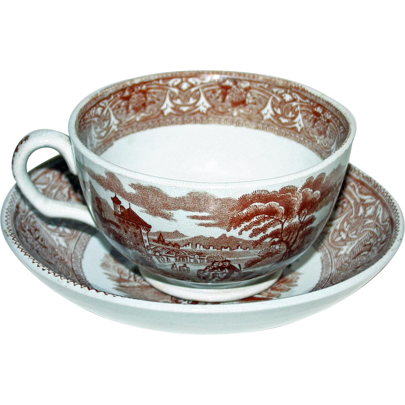 Antique Brown & White Transferware Cup and Saucer by Edge Malkin & Co.