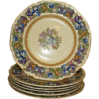 Crown Ducal Florentine Bread Plates (6 Inch), Fruits and Flowers, 6 Available