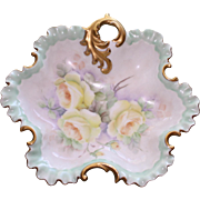 Vintage Fluted Shallow Dish Hand Decorated with Yellow Roses and Gold