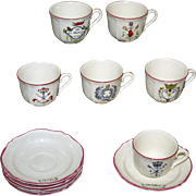Set of 6 French Faience Demitasse Cups & Saucers by St. Amand
