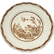 "Vintage Brown Transferware ""Quail"" Dinner Plate by Furnivals"