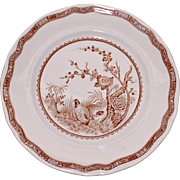 "Set of 4 Furnivals Luncheon Plates, Brown Transferware, ""Quail"" pattern"