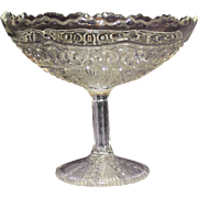 Vintage Pressed Glass Compote with Inticate Chain and Star Design