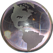 Clear Glass Sphere with Land Masses Etched, A Globe Paperweight, 4 Inch Diameter