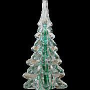 Green Ribbon Lead Glass Christmas Tree