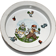 Charming Child's Dish with Boy, Girl, and Pesky Goose