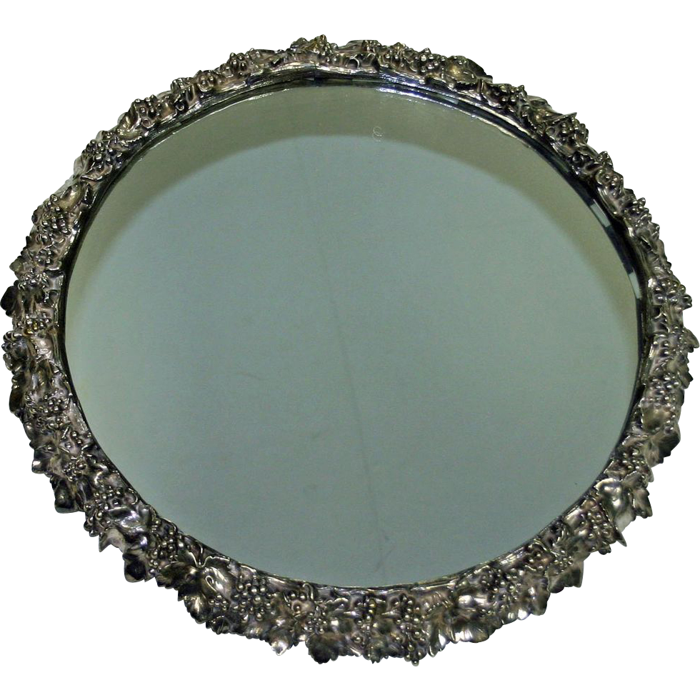 "Large 17.5"" Antique (1853) Silver Plate Plateau by Elkington"