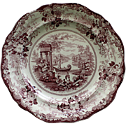 c.1825 Mulberry Grecian Scenery Transferware Plate by Hicks and Meigh