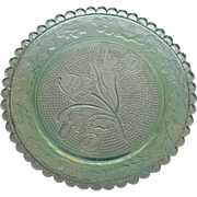 Antique Early American Patten Glass (EAPG)  Pale Green Butter Pat