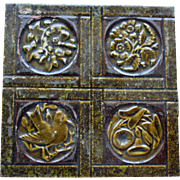 Antique Majolica Tile with Birds and Flowers