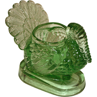 Vintage Turkey Toothpick Holder,  Green Glass, Thanksgiving