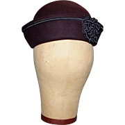 Sophisticated Vintage (1950's) Brown Fall/winte Pillboxr Hat with Charcoal Trim by Jacqueline Dallas