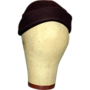 Stylish Chocolate Felt Vintage (1950's) Pillbox Hat