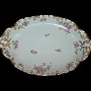Antique Haviland Limoges Apple Blossom Large Oval Platter 15.5 In. by 11 In.