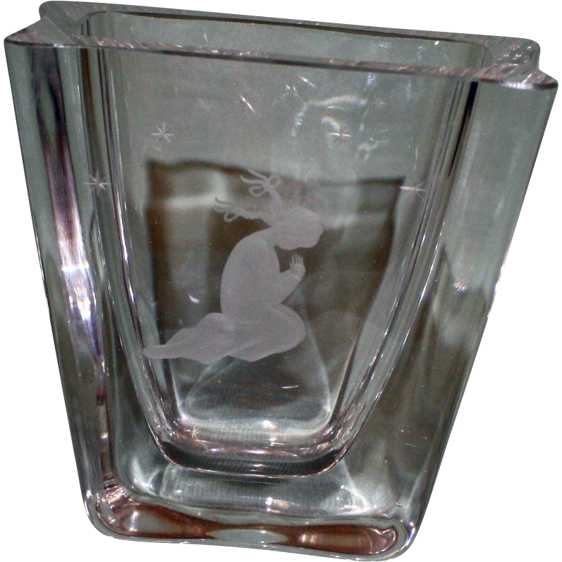 Heavy European Crystal Vase with Etched Child Praying