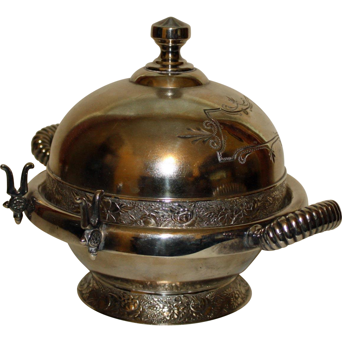Antique Homan Silver Plate Co. Two Part Domed Butter Dish
