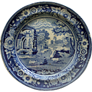 c.1825 Staffordshire Blue English Transferware Plate - Italian