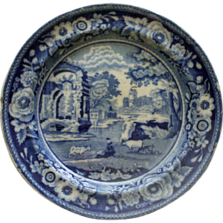 Staffordshire Blue English Transferware Plate - Italian