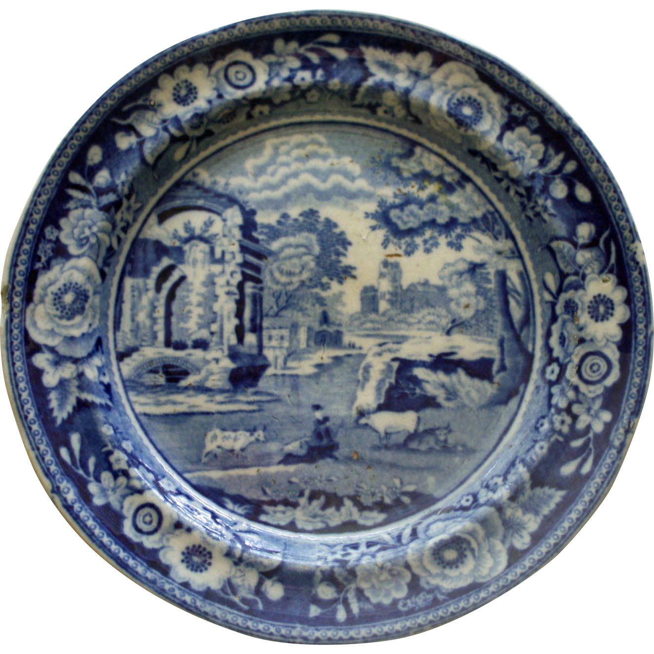 c.1825 Staffordshire Blue English Transferware Plate - Italian