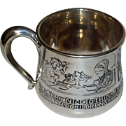"Antique Kerr Sterling Child Cup with ""Pictures"" - Saying Grace at Meals"