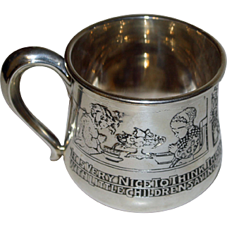 """Antique Kerr Sterling Child Cup with """"Pictures"""" - Saying Grace at Meals"""