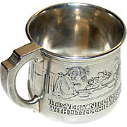"""Antique Sterling Kerr Baby Cup, Saying Grace at Meals: Poem """"A Thought"""" by Robert Louis Stevenson"""