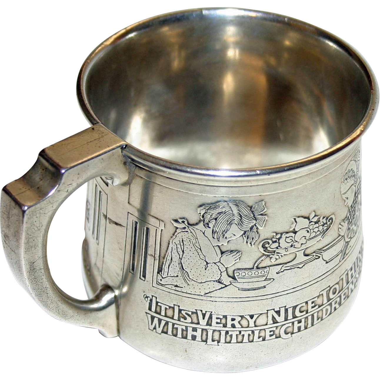 "Antique Sterling Kerr Baby Cup, Saying Grace at Meals: Poem ""A Thought"" by Robert Louis Stevenson"
