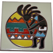 "Vivid ""Earthtones"" Kokopelli (Flute Player) Tile or Trivet"