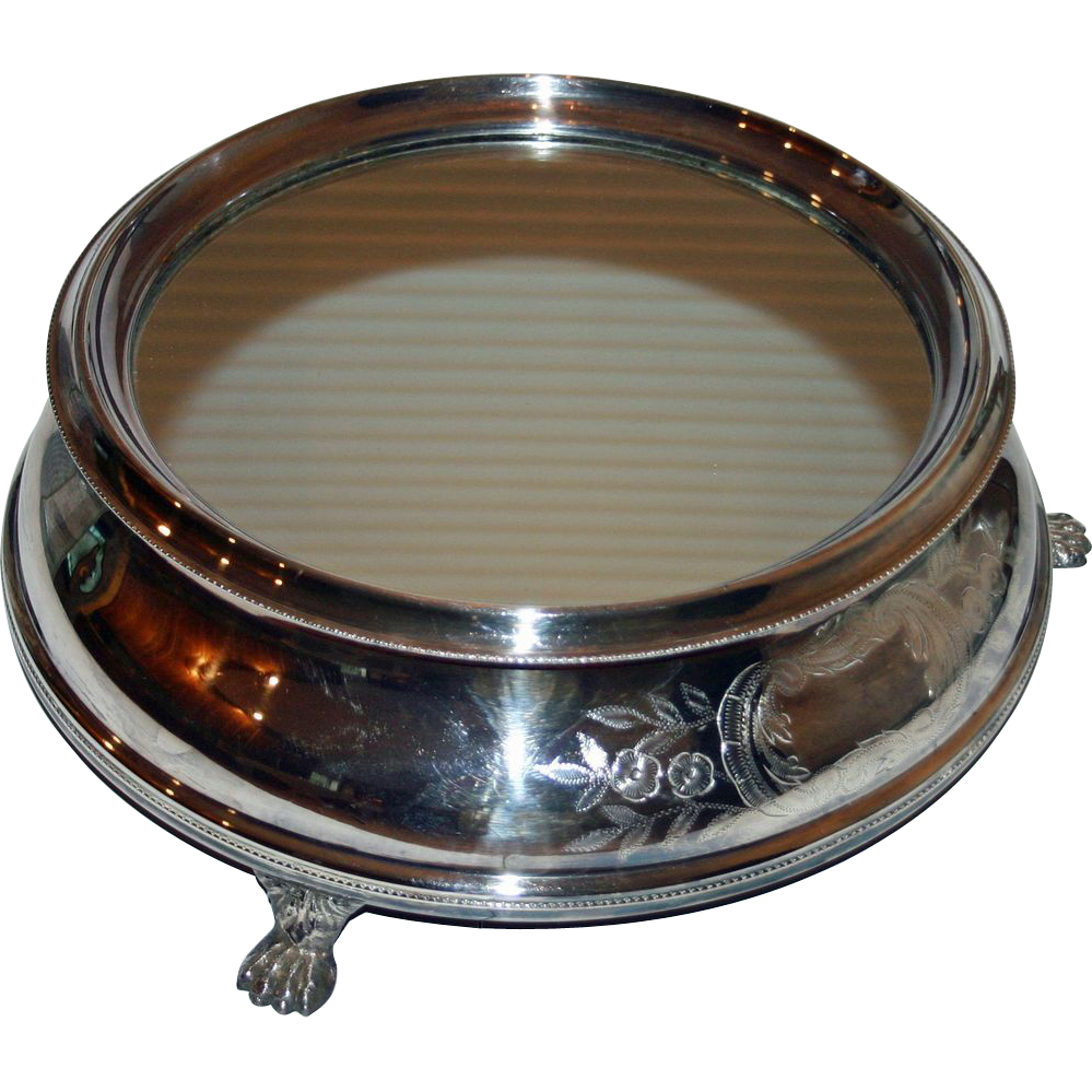Tall Antique Silver Plate Plateau with Mirrored Top & Wooden Bottom