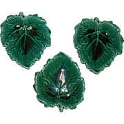 Three Wedgwood Green Majolica Leaf Shaped Dishes