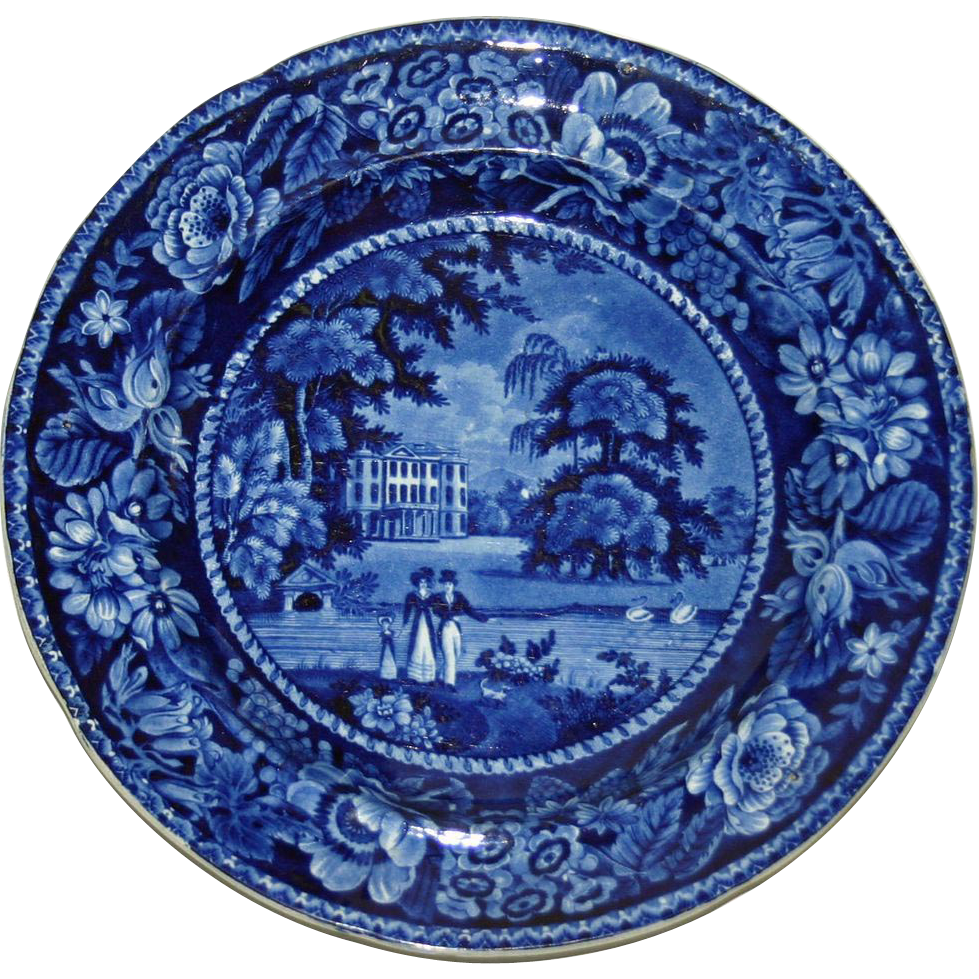 c. 1825 Ralph Hall English Historical Blue Transfer Plate Llanarth Court, Wales
