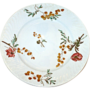 Antique Hand Painted French Luneville Dinner Plates: Mimosa Pattern