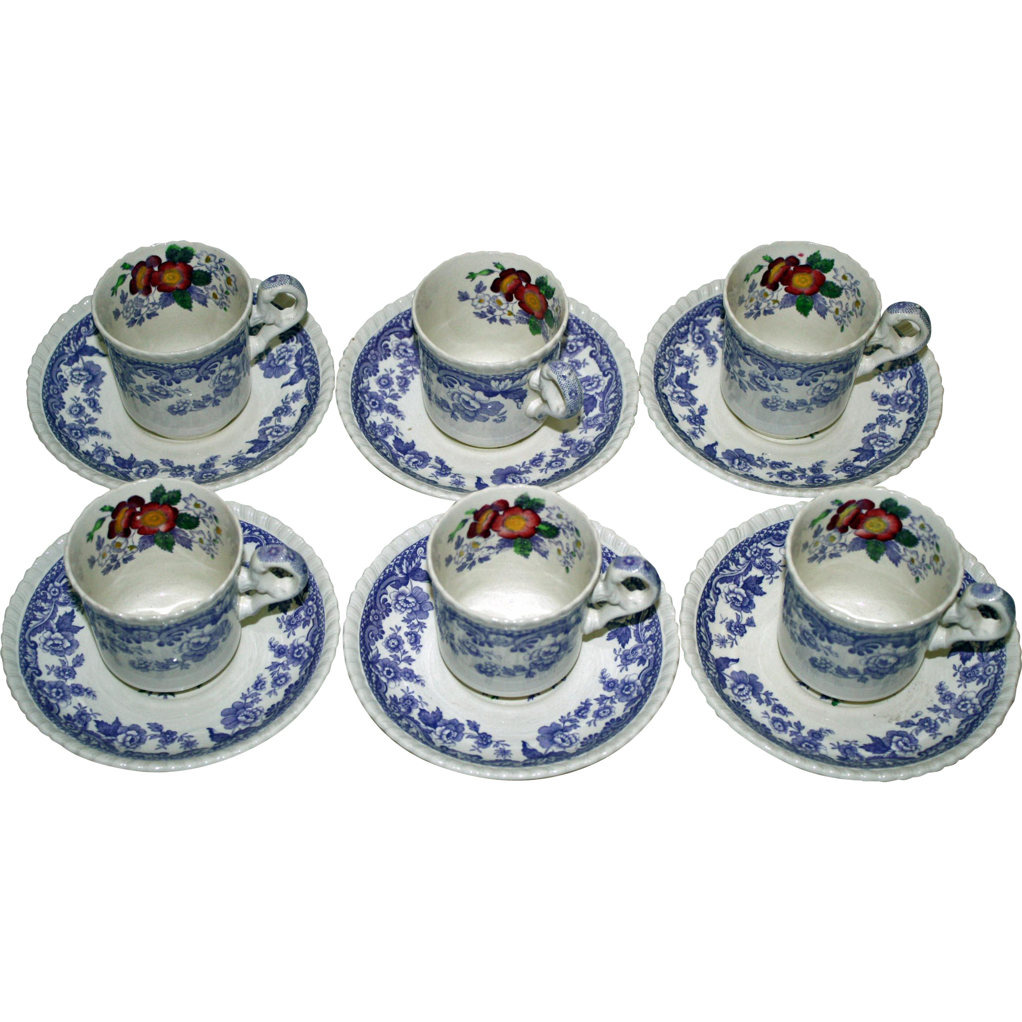 "Copeland Spode Set of 6 Demitasse ""Mayflower"" Cups and Saucers"