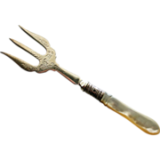 English Mother of Pearl Toast Fork by Isaac Ellis & Sons