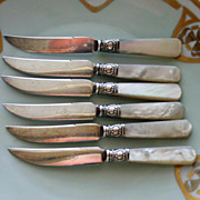 Set of 6 American Sterling and Mother of Pearl Vintage Fruit Knives