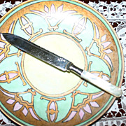 American Mother of Pearl Wedding Cake Knife with Serrated Edge, Sterling Band