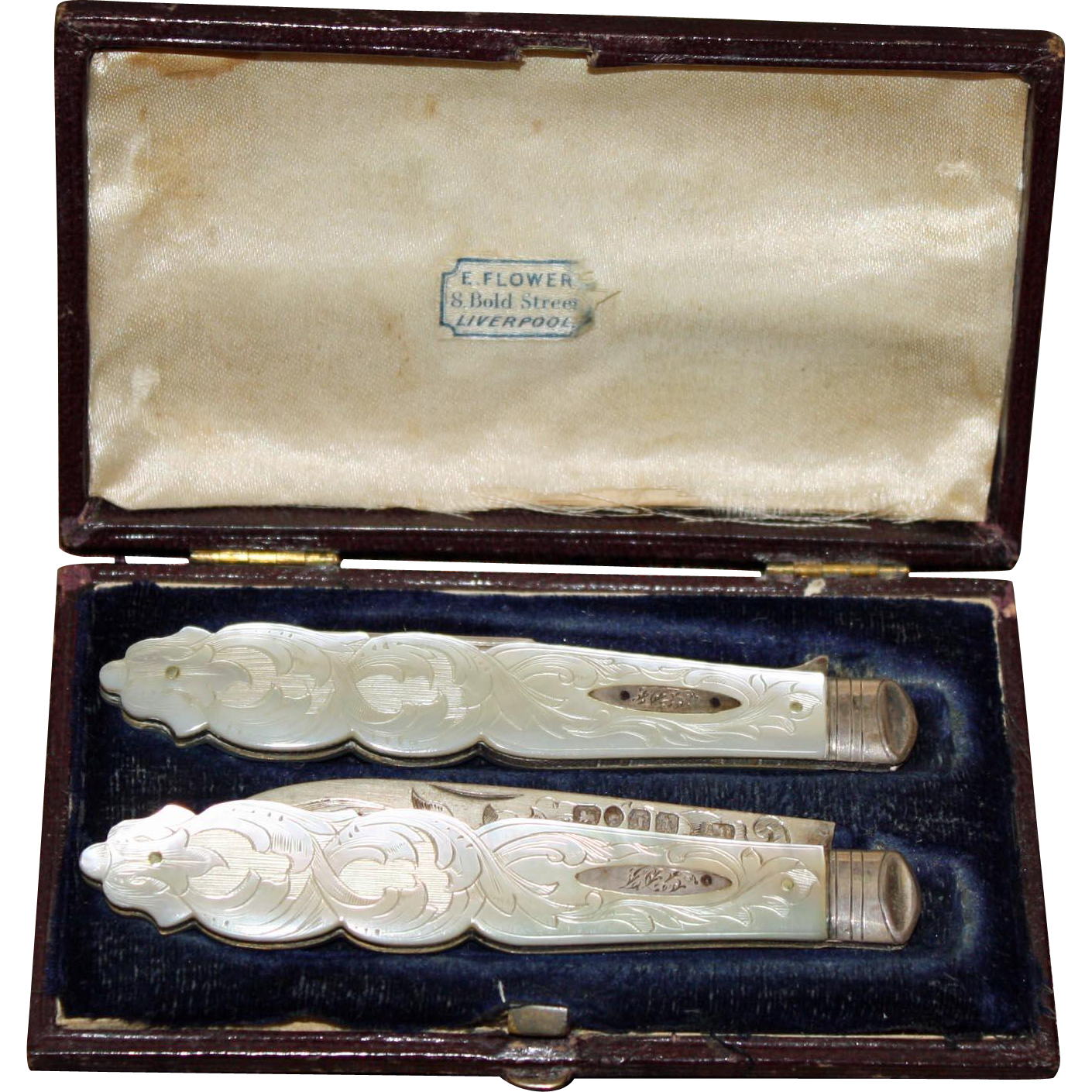 1858 Engraved Mother of Pearl Sterling Folding Knife & Fork Pair in Original Box