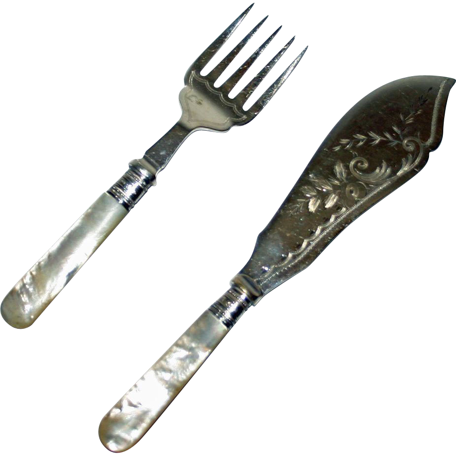 1906 Sheffield Master Fish Knife & Fork w Mother of Pearl, Sterling Bands