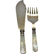 Antiue Mother of Pearl Fish Set (Knife & Fork), Sterling Bands, English, Sheffield, Maleham & Yeomans