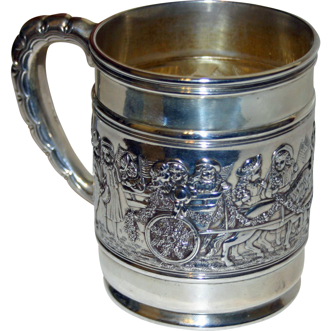 Tiffany Sterling Antique Patriotic Parade Child/Baby/Christening Mug or Cup - REMARKABLE